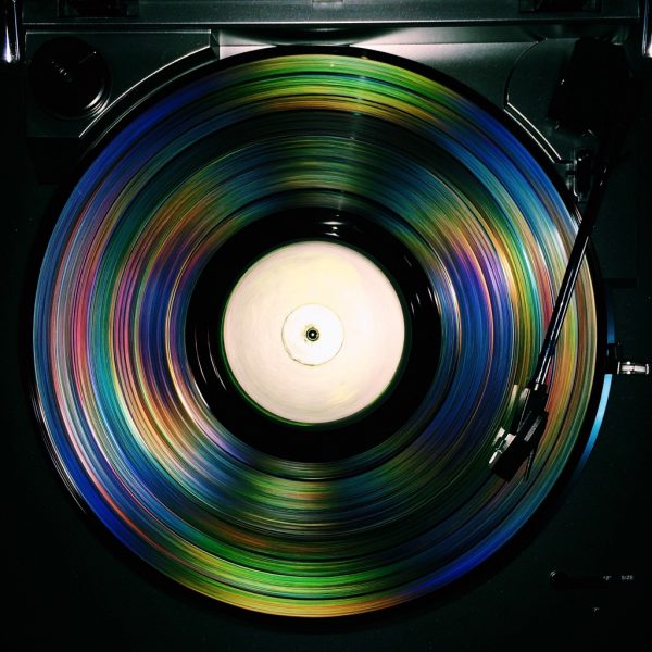 Vinyl record with flash image